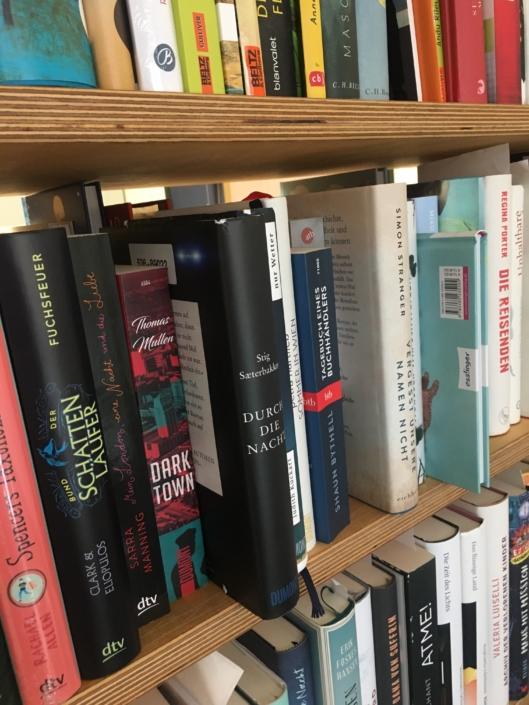 Deutsche Ausgabe von »Durch die Nacht« in einem Bücherregal stehend
